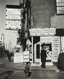 Artwork by John Gutmann, Barber School, Bowery, N.Y.C., Made of gelatin silver print