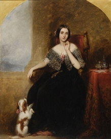 Artwork by Richard Buckner, Mrs. Horace Marryat with her pet spaniel, Made of Oil on panel