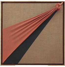 Artwork by Jorge Eduardo Eielson, Quipus 58 AR-1991, Made of acrylic and fabric on canvas