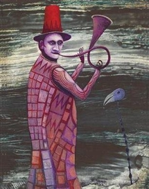 Artwork by Hermann Serient, Strange Musician, Strange Animal, Made of oil on hardboard
