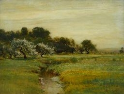 Artwork by Arthur Parton, CHERRY BLOSSOM BY A RIVER, Made of oil on canvas