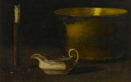 John Frederick Peto, STILL LIFE WITH CANDLESTICK, BRASS, SEWING KETTLE AND SAUCE BOAT