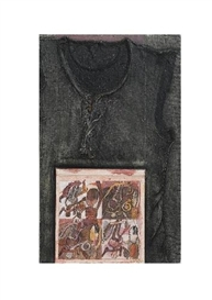 Artwork by René Bertholo, UNTITLED (CINÉMA DE PARIS), Made of Oil, lacquer, ink and plaster collaged with wood and t-shirt on canvas