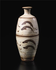 "Artwork by Bernard Leach, Large vase with ""Leaping Fish"" design, Made of Stoneware, shino type glazes, the repeated fish designs cut back through a brushstroke of glaze and enclosed within a banded design"