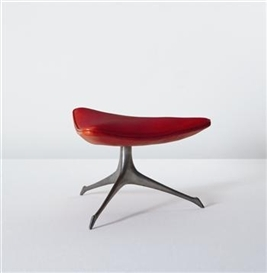 "Artwork by Vladimir Kagan, ""Tri-Symmetric"" stool, Made of Aluminum, vinyl"