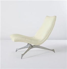 "Artwork by Vladimir Kagan, ""Tri-Symmetric"" side chair, Made of Aluminum, leather"