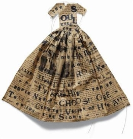 "Artwork by Lesley Dill, Poem Dress ""The Soul Selects Her Own Society"", Made of Lithograph and thread, on deacidified Indian newspaper"