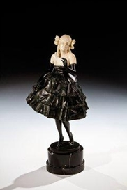 Artwork by Bruno Zach, Vienna Debutante, Made of Bronze,black patina and ivory