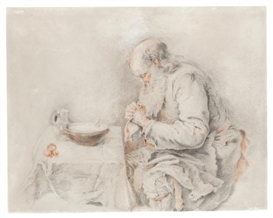 Artwork by Jacques Andre Portail, An old man saying grace over his simple meal, Made of Red and black chalk