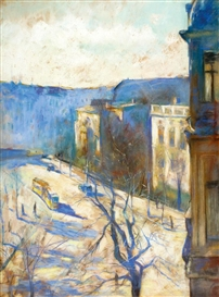 Artwork by Lesser Ury, Landscape, Made of Pastel on cardboard