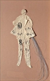 Artwork by Lesley Dill, Dust is the Only Secret, Made of Collage, ink & coloured synthetic fiber