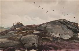 Artwork by Odgen M. Pleissner, Driven Grouse Scene, Made of Watercolor