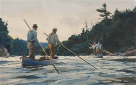 Artwork by Odgen M. Pleissner, Poling Up River, Made of Watercolor