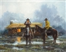 Larry Smothers, Two riders in the rain at dusk, cabin in distance