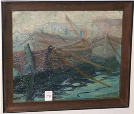 Artwork by Arturo Pacheco Altamirano, Boats docked, Made of oil on board