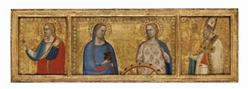 Artwork by Bernardo Daddi, Saints Lucy and Catherine of Alexandria; Saint John the Evangelist; and Saint Nicholas of Bari (?): Predella panels from the S. Giorgio a Ruballa altarpiece, Made of Tempera and gold on panel
