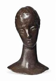 Artwork by Wilhelm Lehmbruck, Mädchenkopf auf schlankem Hals (Kopf der Sinnenden), Made of bronze with brown patina