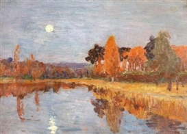 Artwork by Isaac Levitan, Twilight over a forest and a lake, Made of oil on canvas