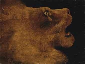 Artwork by Henri Rousseau, Tête de lion, Made of oil on board