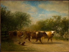 Artwork by James McDougal Hart, A Herd of Cattle along a Country Road, Made of Oil on canvas