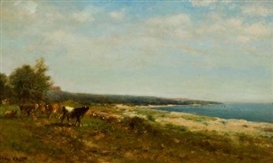 Artwork by James McDougal Hart, Cattle Along the Waterside, Made of Oil on canvas laid on board