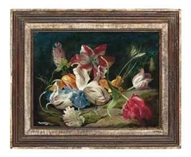 Artwork by Douglas Anderson, Still life with tulips, Made of oil on board