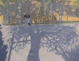 Artwork by Andrew Macara, Tree Shadows, Italy, Made of oil on canvas