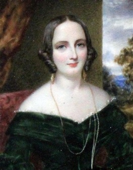 Miniature of a lady wearing a green dress By Cornelius Beavis Durham ,1842