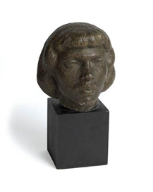 Artwork by Richmond Barthé, Head of a Young Woman, Made of Patinaed dental stone