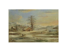 Artwork by Robert S. Duncanson, Winter Landscape, Made of Oil on canvas