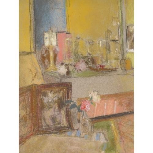 Artwork by Édouard Vuillard, Coin de Cheminee a Les Clayes, Made of Pastel on paper