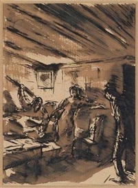 Artwork by Wilhelm Thöny, Uproar, Made of pen and ink (bistre), brown wash, on paper