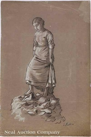 "Artwork by Elihu Vedder, ""Pensive Female on Rock, Made of charcoal and chalk on paper"