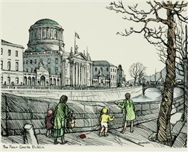 Artwork by Hilda Roberts, The four courts, Dublin, Made of Hand-coloured Cuala Press Print