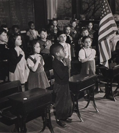 Artwork by Esther Bubley, CLASSROOM PLEDGING ALLEGIANCE, Made of Gelatin silver print