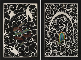 Artwork by Lucas Samaras, 2 works: Hook; Ribbon, Made of Screenprints in colors on wove paper