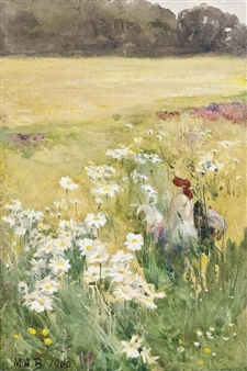 A cockerel and hen in a cluster of marguerites By Mildred Anne Butler ,1900