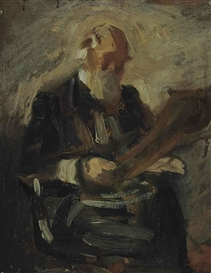 Artwork by Thomas Eakins, Study for a Portrait of Charles Fussell, Made of oil on board