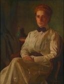 Artwork by Thomas Anshutz, PORTRAIT OF MISS BUNTING, Made of oil on canvas