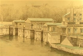 Artwork by Richard Haas, OLD WATERWORKS, PHILADELPHIA, Made of Color lithograph