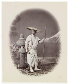 Artwork by Felice A. Beato, 8 works: Japanese figures, Made of albumen prints