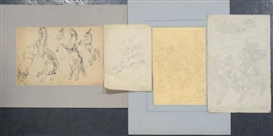 Artwork by Hyman Bloom, 4 Works: Circus Scenes, Made of Pencil sketch, charcoal
