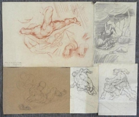 Artwork by Hyman Bloom, 5 Works: Study for the Flying Tackle, Made of Sanguine on paper