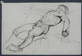 Artwork by Hyman Bloom, 4 Works: The Knock Down, Made of Pencil sketch