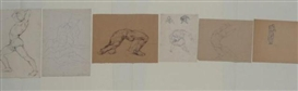 Artwork by Hyman Bloom, 6 Works: Figure amongst rocks, Male studies, Made of Pencil study