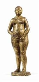 Artwork by Christoph Voll, Junge Bäuerin: Young farmer's wife, Made of bronze with a gold patina