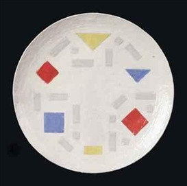 Artwork by Bart van der Leck, Untitled, Made of glazed terracotta plate