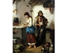 F. Morelli, 2 Wokrs: Maid and pedlar before a house together with another similar with maid and pedlar playing the violin in a kitchen interior