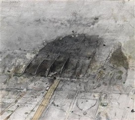 Artwork by Heinz Göbel, Tempelberg, Made of mixed media on paper