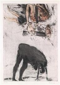 Artwork by Adolf Frohner, Menschen und unbekannte Flugobjekte I, Made of etching